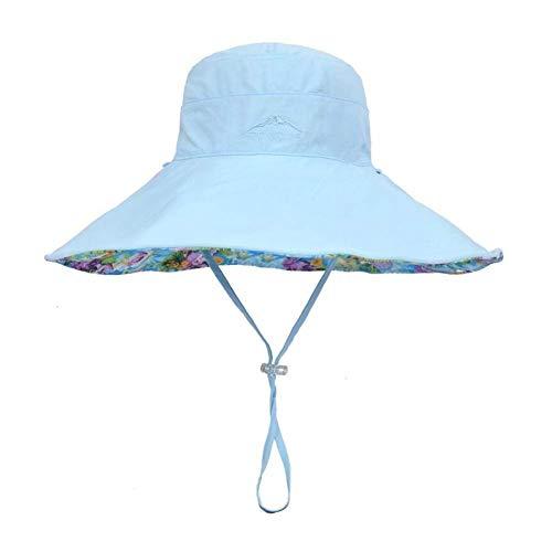 SCJ Sonnenhüte Sonnenhüte - Damen Faltbare Floppy Reversible Travel Beach Sonnenblende Hut Breiter Krempe UPF 50+ Cap (Farbe: Blau, Größe: 55-59cm) -