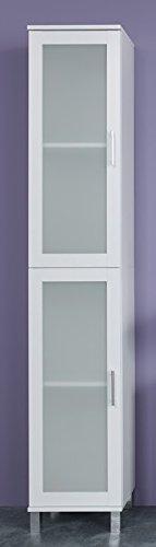 Beauty.Scouts Hochschrank 'Temper II', Badschrank, Standschrank, Badezimmerschrank, Schrank,Badmöbel, Badezimmer, (B/H/T) ca. 35 x 188 x 33 cm, weiß mit satiniertem Frontglas