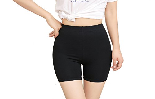 Bambus Damen-rock (MeOkey Damen Elastisch Leggings Unter Rock Kurz Hose high Waist Under Dress Shorts in Schwarz - 2XL)