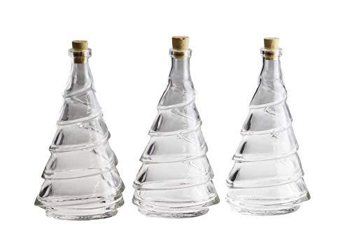 autooptimierer.de Premium Glasflaschen mit Korken im Tannenbaum Design I 3 Stück Flasche für Likör Öl Essig I Likörflasche Karaffe 200 ml I Glas Flasche mit Kork und Anschrumpfkapsel