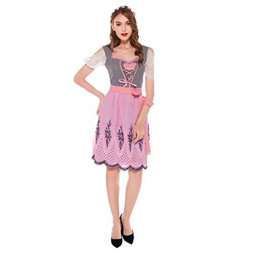 Traditionellen Kostüm Nicht Vampir - TINGSHOP Beer Girl Kostüm, Bayerische Traditionelle Oktoberfest-Kleid-Rosa Festival-Partei-Kleid-Partei, Halloween, Weihnachten, Karneval-Mädchen-Kleid,Pink,L