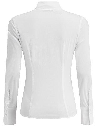 oodji Collection Femme Chemisier Basique en Coton Blanc (1000N)