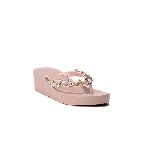 Kleine Glas-slipper (HERIXO Damen Schuhe Slippers Flip-Flops Plateau-Sohle hohe Keilabsatz Kleiner Strass-Steine Glitzer edel Luxus Zehentrenner Glas (39 EU, Pink))