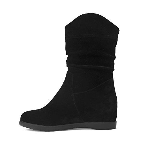 AgooLar Damen Niedrig-Spitze Ziehen auf Niedriger Absatz Rund Zehe Stiefel mit Juwelen, Schwarz, 35