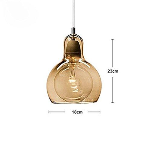 Das LED-Licht zur Decke Pendelleuchte retro Tabellen Glas kleine, einzelne große Kopf gelb