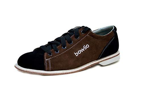 Bowlio Bowlingschuhe Supreme - aus Veloursleder mit Ledersohle, Größe:48, Farbe:Schwarz/Braun