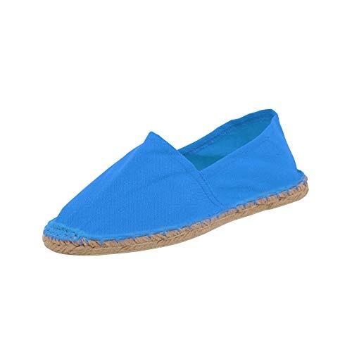 53% Leinen (Japanwelt Espadrilles Unicolor Canvas Blau Damen und Herren Größe 41 Unisex Leinen Slipper)