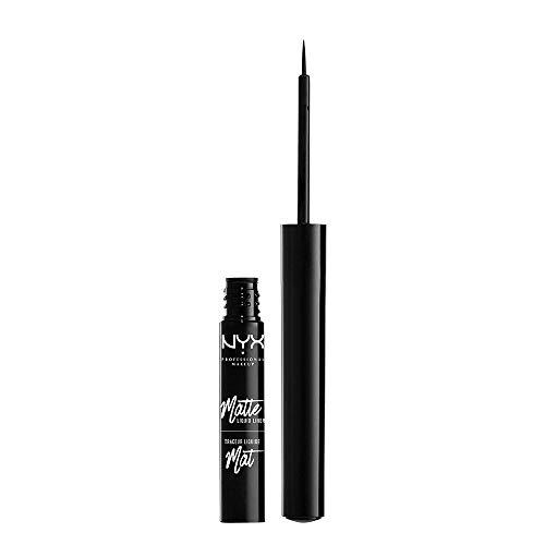 NYX Professional Makeup Matte Liquid Liner, Eyeliner mit feinem Pinselapplikator, Präzise Anwendung, Vegane Formel, Schwarz