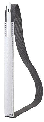 """StilGut Pencil-Halter für Apple 12,9"""" iPad Pro aus echtem Leder. Stift-Halterung zur sicheren Aufbewahrung des Apple Pens, Weiß"""