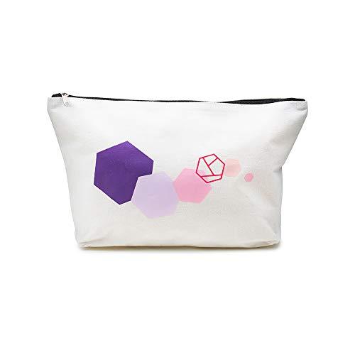 prettique Beauty Bag, Kosmetiktäschchen mit Reißverschluss und geometrischem Aufdruck, groß