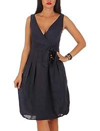 192cddab4210 Malito Damen Leinenkleid im Klassik Design   Elegantes Cocktailkleid    schickes Abendkleid   Partykleid - A