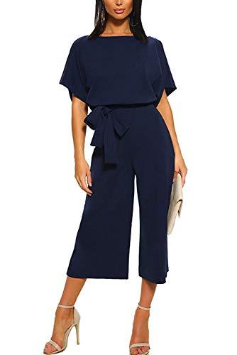 Aranmei Jumpsuit Damen Elegant O Ausschnitt Sommer Kurzarm Overall Lässig Weites Bein Hohe Taille Playsuit Romper mit Gürtel (Navy blau, Small)