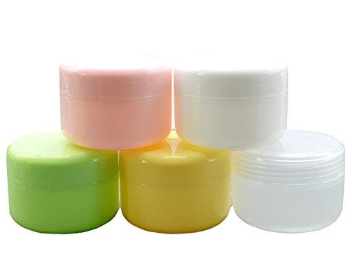 10pcs pots cosmétiques vides en plastique vides avec couvercles pour crèmes / échantillons de maquillage / maquillage / paillettes, 50g / 50ml (Clair)
