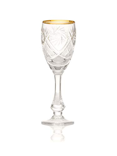 Crystal shot Glasses, Gold Rim, 70 ml, Set of 6. Gift Box Rim-box