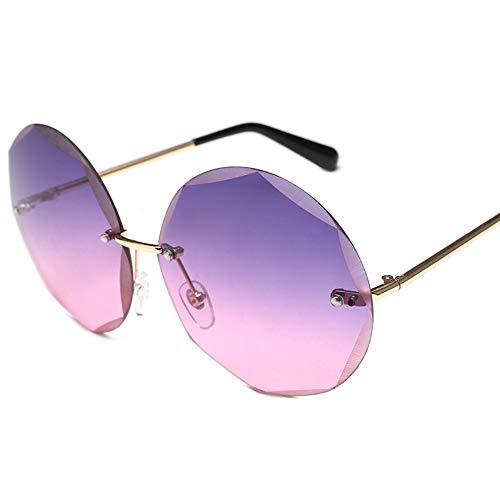 MJDABAOFA Sonnenbrillen,Runde Rahmenlose Sonnenbrille Farbverlauf Gold Frame Lila Objektiv Frauen Trends Großen Kreis Gradient Transparente Sonnenbrille Uv400