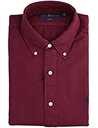 fd44803b15f5 Ralph Lauren Mod. 710723610 Camicie Oxford Tinta Unita Lavata Slim Fit Uomo  Classic Wine