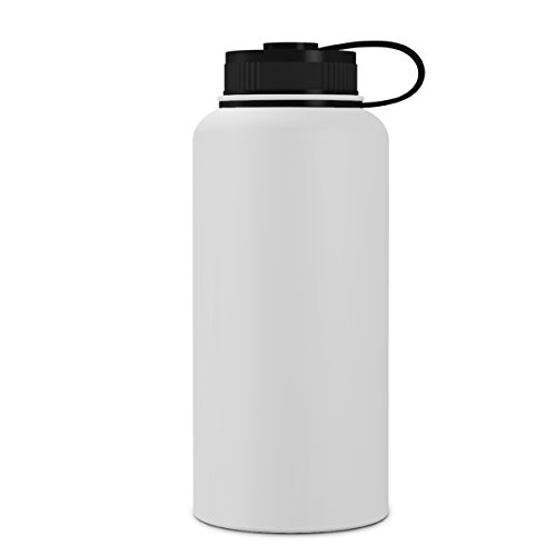 GEO 32oz Double Wall Vacuum Insulated Stainless Steel Leak Proof Sports Water Bottle, Wide Mouth w/BPA Free Screw Cap (White)