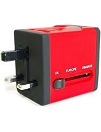 Adaptateur de Voyage avec 2 ports USB de la série Arc en Ciel (5V/2.1A) - Édition Rouge