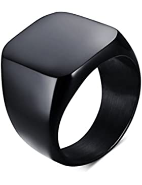 Heyrock Men's Black Rock Punk Rings Cool Fashion Individuality Ring for Boys Party Jewelry