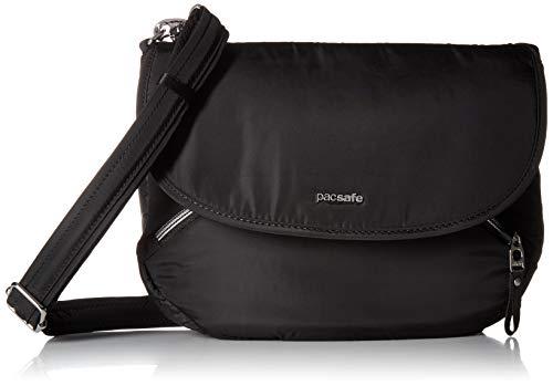 Pacsafe Stylesafe Crossbody Umhängetasche, kleine Anti-Diebstahl Tasche für Damen, Schultertasche mit Diebstahlschutz, Sicherheits-Features - 4 Liter, Uni, Black/Schwarz -