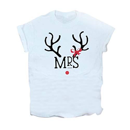 yazidan T-Shirt Damen Frauen Mädchen Weihnachten Rundhal Kurzarmshirt Weihnachtsbaum Rentier Elk Bus Merry Christmas Drucken Basic Fun Xmas Tops Tee Shirt Blusen Oberteile