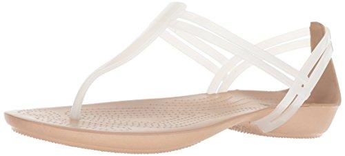 crocs Damen Isabella T-Strap T-Spangen Sandalen, Weiß (Oyster/Gold 13S), 34/35 EU -