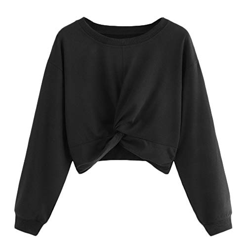MIRRAY Damen Langarm Twist Solide Color Rundhals Sweatshirt Bluse Tops Schwarz Rot Weiß Grün S/M / L/XL