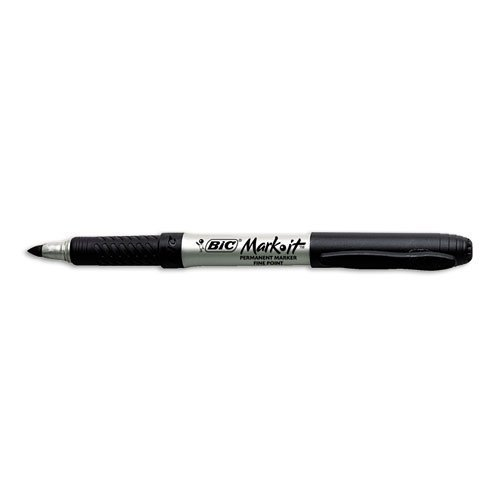 BIC Mark-it Permanent Markers, Ultra-Fine Point, Tuxedo Black, Dozen by BIC America