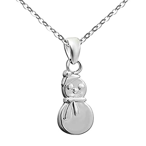 Daesar Sterling Silver Women's Necklace Snowman High Polished White Pendant
