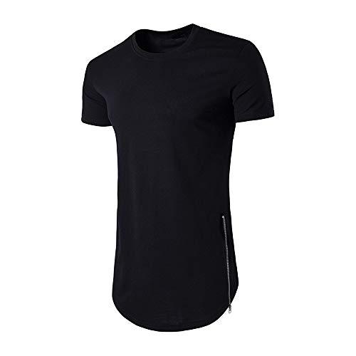Preisvergleich Produktbild TianWlio Hoodie Winter Herren Herbst Männer Mode Herren Kurzarm Hiphop T-Shirt Reißverschluss Streetwear Shirt Schwarz XXL