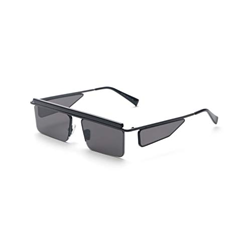 Sports Eyewear, Black Rectangle Sunglasses Men Square Summer NEW Metal Half Frame Brown Red Fashion Sun Glasses For Women Brands Uv400 as show in photo full black