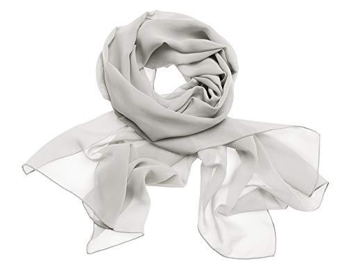 Dresstells Chiffon Schal Stola für Abendkleider in Verschiedenen Farben Silver 200cmX75cm/ Large