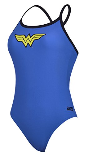 Zoggs Wonder Woman Tri-Back - Bañador para Mujer, Mujer, 105718534, Azul, 10