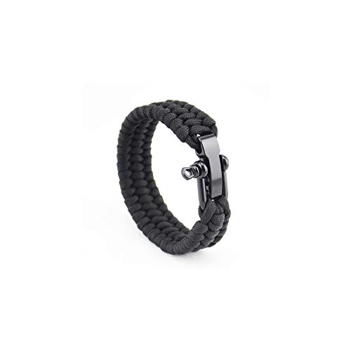 Armband Armreif, Schmuckgeschenk,Outdoor Camping Paracord Bracelet Survival Emergency Braided Rope Bracelet Men Black Stainless Steel Adjustable Buckle Pulseras U01 23cm