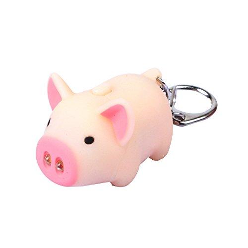 AchidistviQ Cute Pig Style LED-Licht Sound Schlüsselanhänger Auto Tasche Anhänger Dekoration Geschenk Flesh Color - Perle-perlen-halsketten-bulk