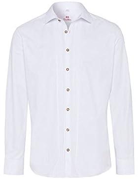 OS Trachten Moser Trachten Trachtenhemd Langarm Weiß Slimfit Lothar 002495 von, Material Baumwolle, Liegekragen