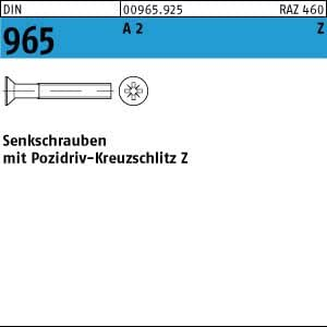 Senkschrauben mit Pozidriv-Kreuzschlitz Z DIN 965 Edelstahl A2 M 1,6 M 4