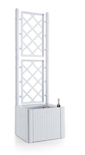 Kreher Rankgitter, Spalier mit Pflanzkasten in Rattan-Design aus Robustem Kunststoff in Weiß. Maße BxTxH in cm: 43 x 43 x 142 cm. Topp für Garten, Terrasse und Balkon!