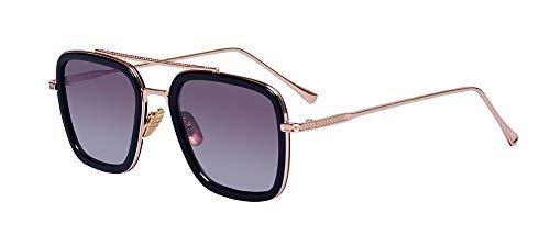 Outray Retro Iron Man Sonnenbrille Tony Stark Brillen Square Eyewear Metallrahmen für Männer Frauen
