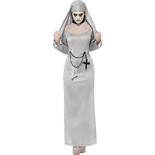 Kostüme Grusel (Halloween Damen Kostüm Gothic Zombie Nonne Geist Gespenst)