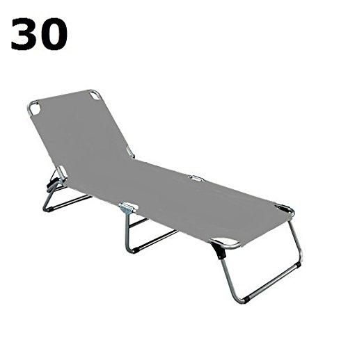 Jan kurtz amigo chaise longue à 3 pieds (structure en aluminium) 190 x 60 cm, h 30 cm gris