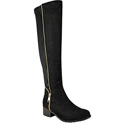 extra lange overknee stiefel Damen Overknee-Stiefel - niedriger Absatz - Stretch - Reißverschluss - Schwarz Veloursleder-Imitat - EUR 37
