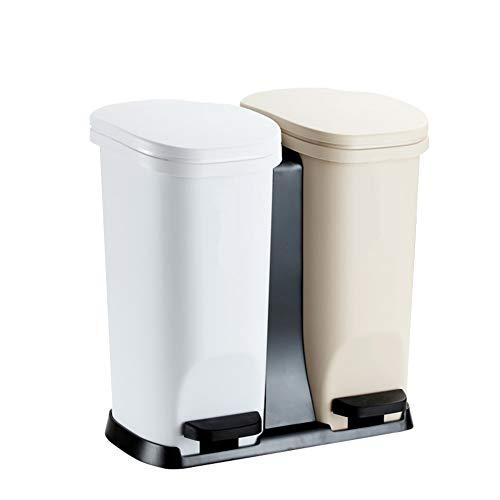 Müll Klassifizierung Mülleimer,dual-fach Schritt Mit Deckel Papierkorb Zum Recycling Eingestuft Treteimer Für Küche Office-f 44x40x28cm(17x16x11inch)