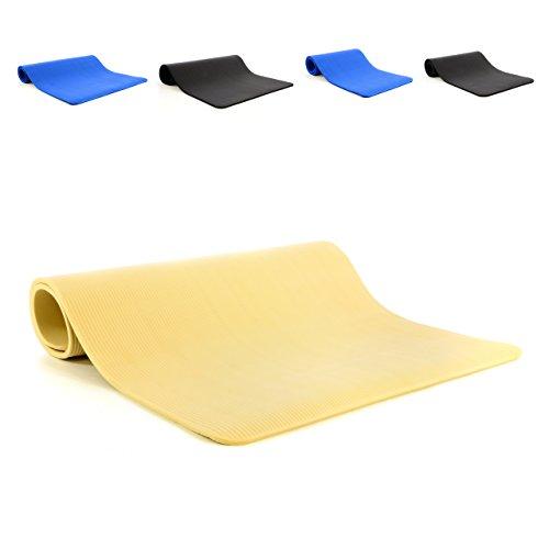 Nipach GmbH Yoga-Matte Gymnastikmatte beige rutschfest schadstofffrei mit Tragegurt Extra dick und breit 190 x 102 x 1,5cm wasserfest isolierend Pilates