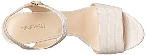 Nine West Garofano pompa della piattaforma della pelle Off White Croco Texture Leather