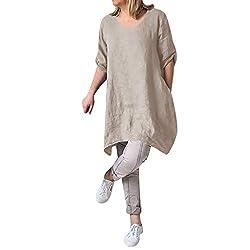 Sannysis Damen Leinenkleid V-Ausschnitt Casual Kleid Boho Lange Bluse Sommerkleider Lose Beiläufige Tunika Hippie Freizeitkleider Tshirt-Kleid Minikleid (L, Beige)