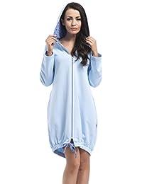 dn-nightwear Damen Bade- und Morgenmantel mit Kapuze