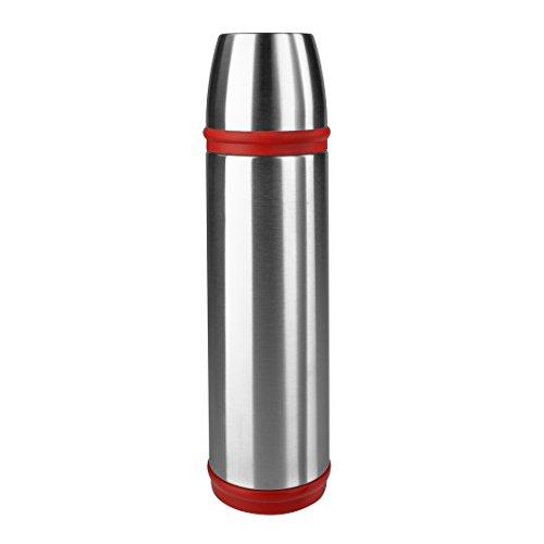 Emsa 507519 Isolierflasche, Mobil genießen, 1 l, Schraubverschluss, Edelstahl/Rot, Captain