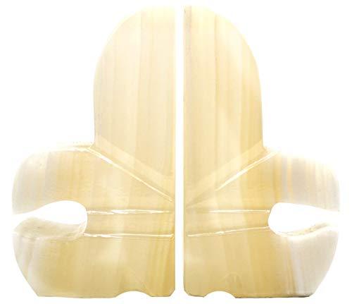 Fleur De Lis Serie (The Artisan Mined Series hBAR Buchstützen, Onyx, Aragonit, Fleur-De-Lis, 14 cm hoch, 7,6 cm lang (2,8 lbs) - geschnitzt aus echtem nordamerikanischen Onyx-Aragonit)
