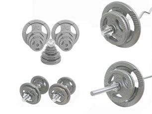 Grip-Set 106,5 Kg Langhantelstange, SZ-Hantelstange, Kurzhanteln und Hantelscheiben (Hammerschlag) 30/31mm